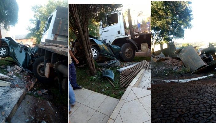 Virmond - Caminhão desgovernado atinge muros e veículos no centro da cidade