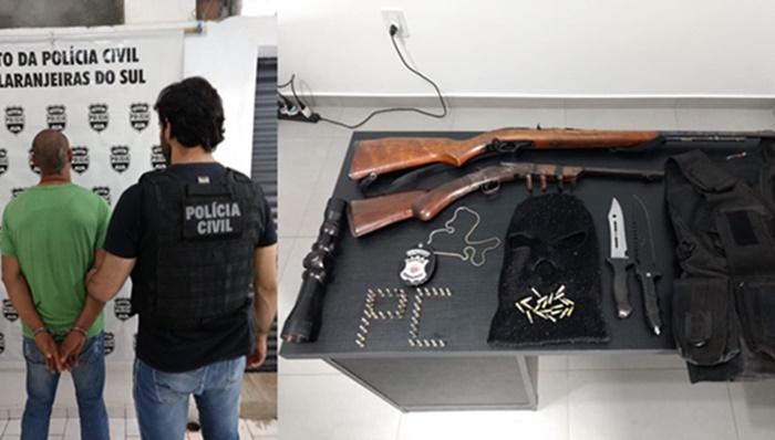 Laranjeiras - Polícia Civil prende indivíduo por porte de arma de fogo de uso restrito e estupro de vulnerável