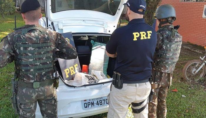 Laranjeiras do Sul - PRF e Exército apreendem 30 quilos de maconha