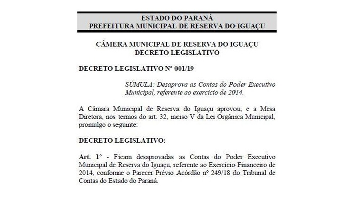 Reserva do Iguaçu - Câmara Municipal reprovou as contas do Executivo de 2014