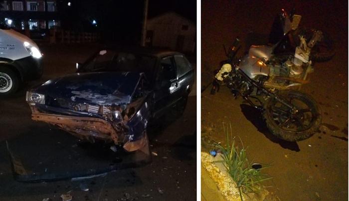 Quedas - Acidente envolve moto e Gol com feridos encaminhados ao Hospital