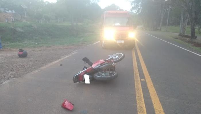 Laranjeiras - Acidente entre motocicleta e van é registrado na BR-158