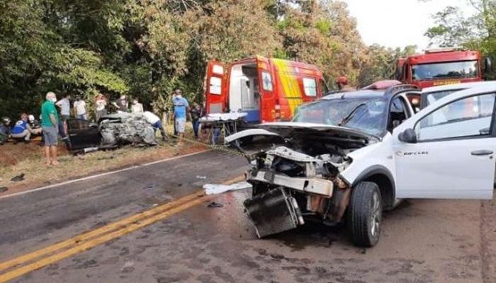Acidente entre carros deixa 11 feridos na PR 180 em Cascavel e aeronave é acionada