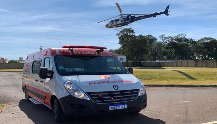 Laranjeiras - Helicóptero do Consamu transporta vítima grave