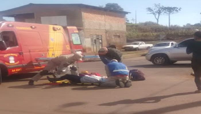 Laranjeiras - Corpo de Bombeiros socorre motociclista envolvido em acidente na Av. Santos Dumont